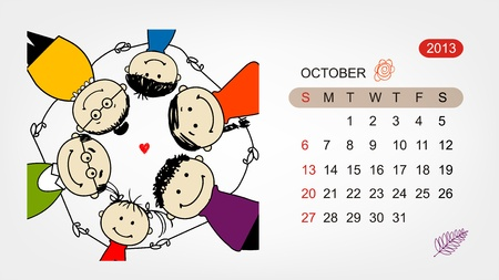Vector calendar 2013  Family illustration for your design Stock Vector - 19009191