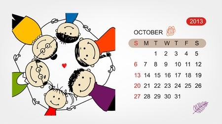 Vector calendar 2013  Family illustration for your design Stock Vector - 19009191