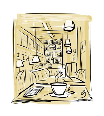 Morning coffee in cafe, sketch for your design Vector