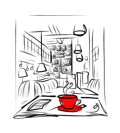 house sketch: Cup of coffee on the table in cafe