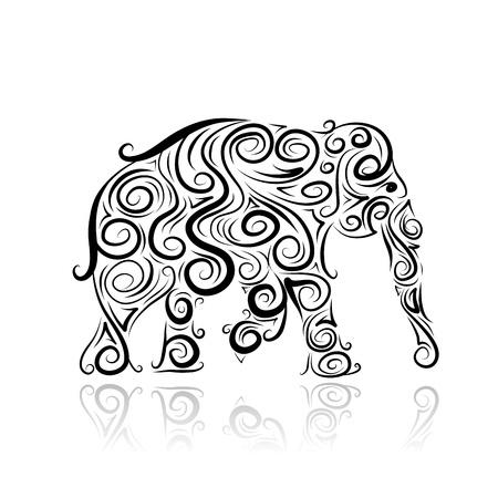 siluetas de elefantes: Silueta del elefante ornamental para el diseño de su