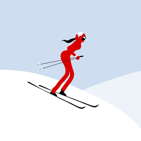 Girl skiing, winter mountain landscape Vector