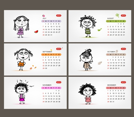 Vector calendar 2013  Funny girls for each month Stock Vector - 19009319