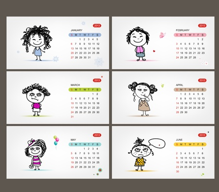 Vector calendar 2013  Funny girls for each month Stock Vector - 19009315