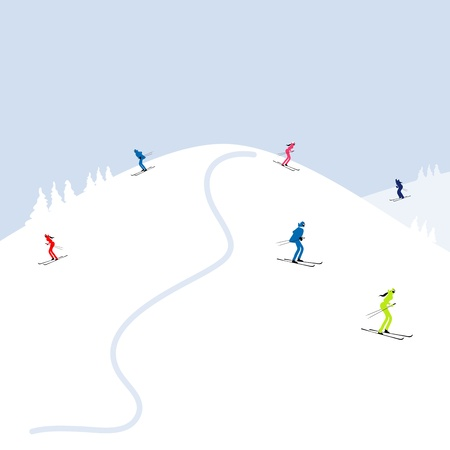 skier: People skiing, winter mountain landscape for your design