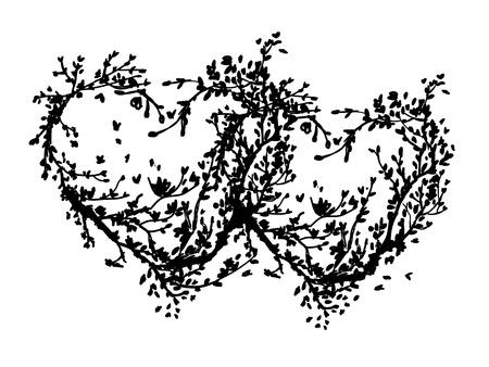 sakura arbol: Dos corazones hechos de �rbol de cerezo para su dise�o