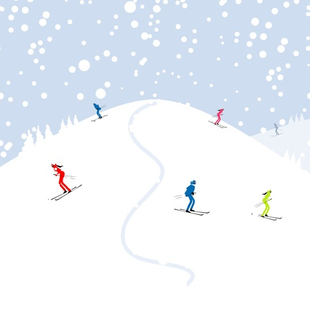 People skiing, winter mountain landscape for your design Vector