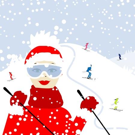 blizzards: Girl skiing, winter mountain landscape