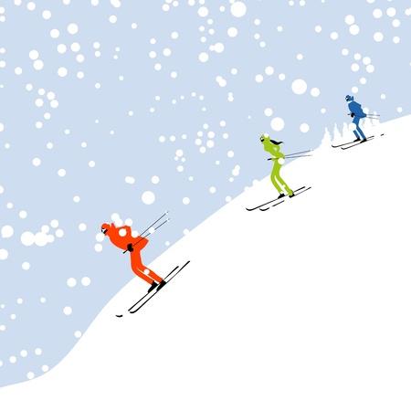 스키 타는 사람: 귀하의 디자인에 대 한 겨울 산 풍경 스키 사람들 일러스트
