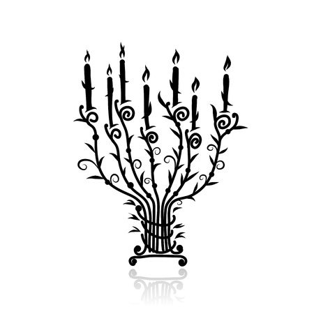 Candlestick with candles for your design Vector