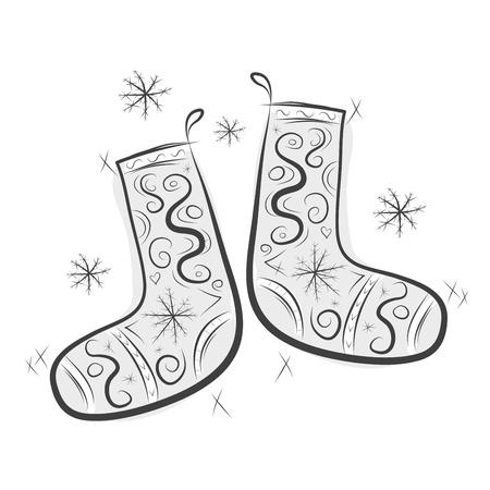 felt: Sketch of cute felt boots for your design