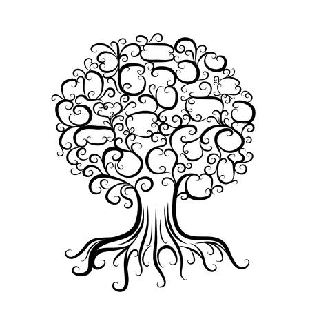 bomen zwart wit: Sier boom met wortels voor uw ontwerp