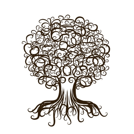 black family: Ornamental tree with roots for your design