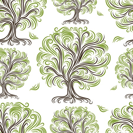 Seamless pattern with art trees for your design Stock Vector - 19009322