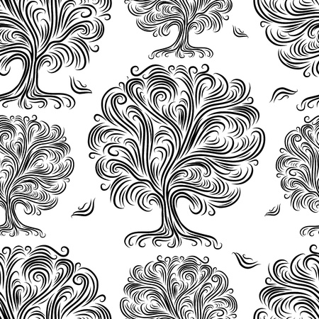 Seamless pattern with art trees for your design Vector