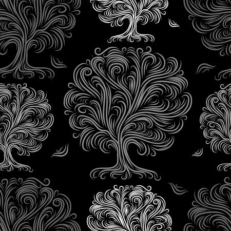papier peint noir: Seamless pattern avec des arbres d'art pour votre conception