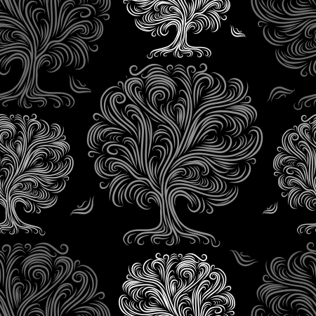 artworks: Seamless pattern with art trees for your design