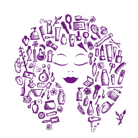 Cosmetic concept, female accessories on woman head for your design Vector