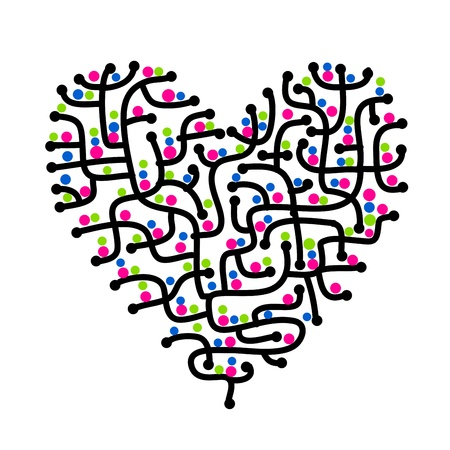 Maze of love, heart shape for your design photo