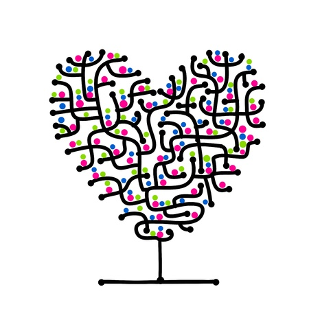 Maze of love, heart shape tree for your design photo