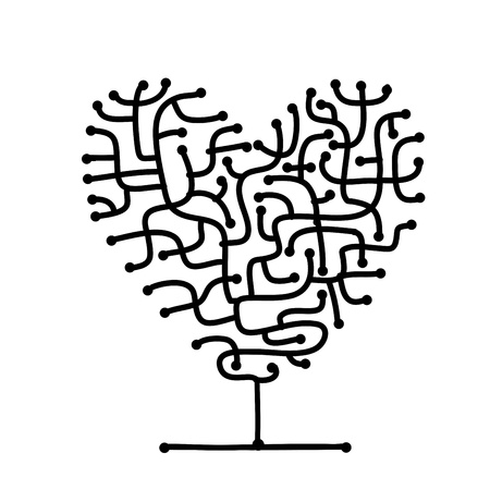 heart sketch: Maze of love, heart shape tree for your design