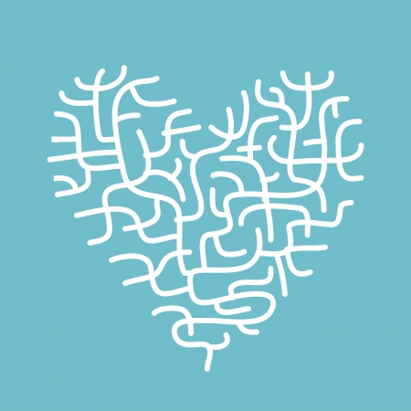 Heart made of corals, sketch for your design Vector