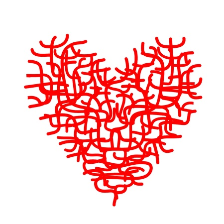Abstract red heart sketch for your design photo
