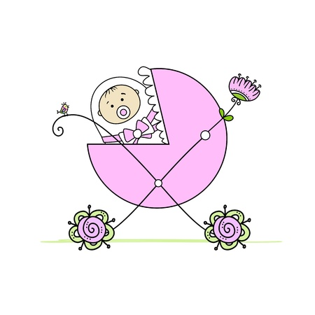buggy: Newborn in baby s buggy for your design