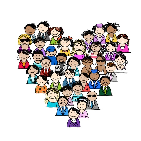 teamwork cartoon: People icons, heart shape for your design