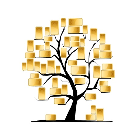 falling money: Golden tree concept for your design