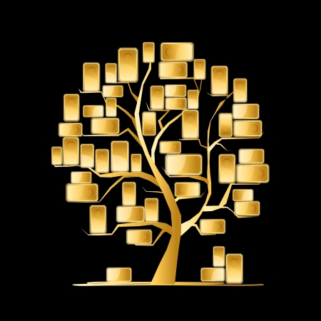 gold bars: Golden tree concept for your design