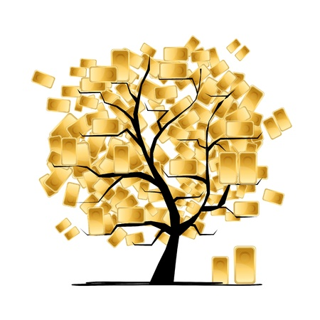 Golden tree concept for your design Vector
