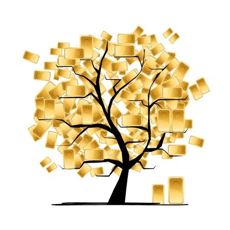 precious metal: Golden tree concept for your design