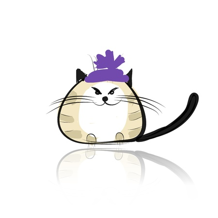 siamese: Funny cat in fashion hat for your design Illustration