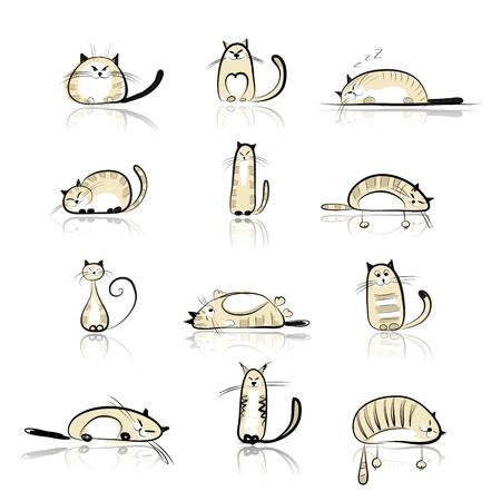 gato caricatura: Colección de gatos divertidos por su diseño