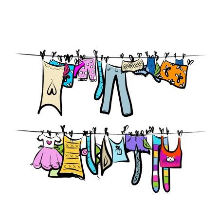 Kinderkleidung auf wäscheleine  Mädchen Socken Lizenzfreie Vektorgrafiken Kaufen: 123RF
