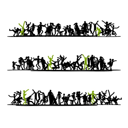 あなたの設計のための人々 の群衆のスケッチ