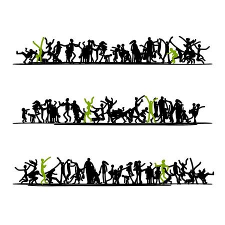 niños bailando: Bosquejo de personas se aglomeran para su diseño Vectores