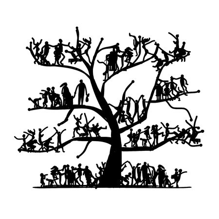 young tree: Tree of people, sketch for your design Illustration