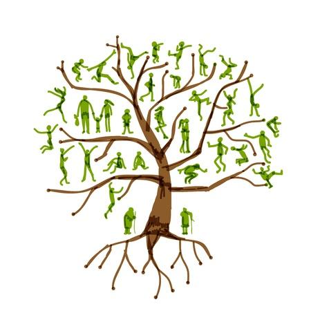famiglia in giardino: Albero di famiglia, i parenti, sagome di persone Vettoriali
