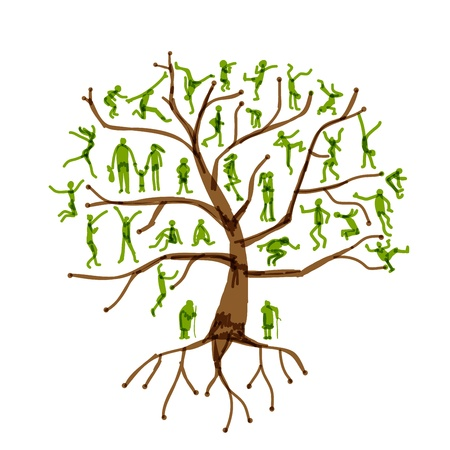 young tree: Family tree, relatives, people silhouettes