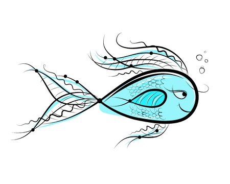 outline drawing of fish: Sketch of funny fish for your design Illustration