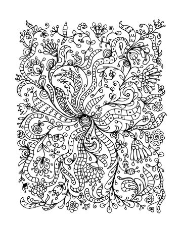 Floral ornament, hand drawn sketch for your design photo