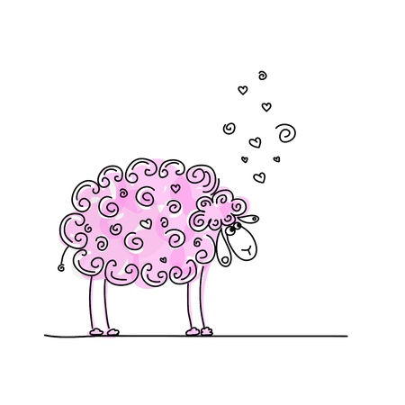 frizzy: Funny pink sheep, sketch for your design