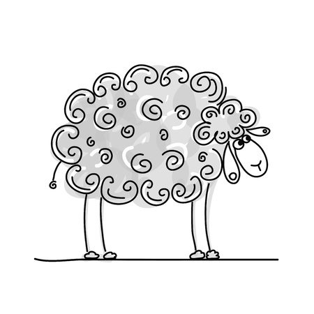 sheep wool: Funny grey sheep, sketch for your design