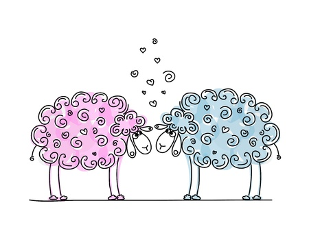and sheep: Ovejas divertidos en el amor, boceto de su diseño Vectores
