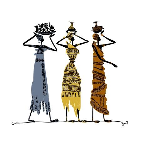mujeres africanas: Mano boceto dibujado de la mujer étnicos con jarras