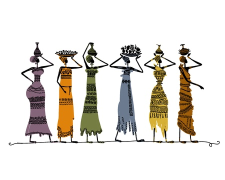 african culture: Sketch of ethnic women with jugs for your design Illustration