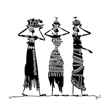 ilustraciones africanas: Mano boceto dibujado de la mujer ?tnicos con jarras