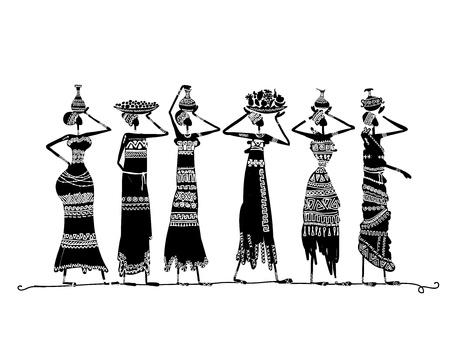 Boceto de mujer étnicos con jarras para su diseño Ilustración de vector